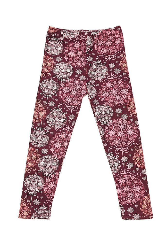 burgundy snowflake leggings J225