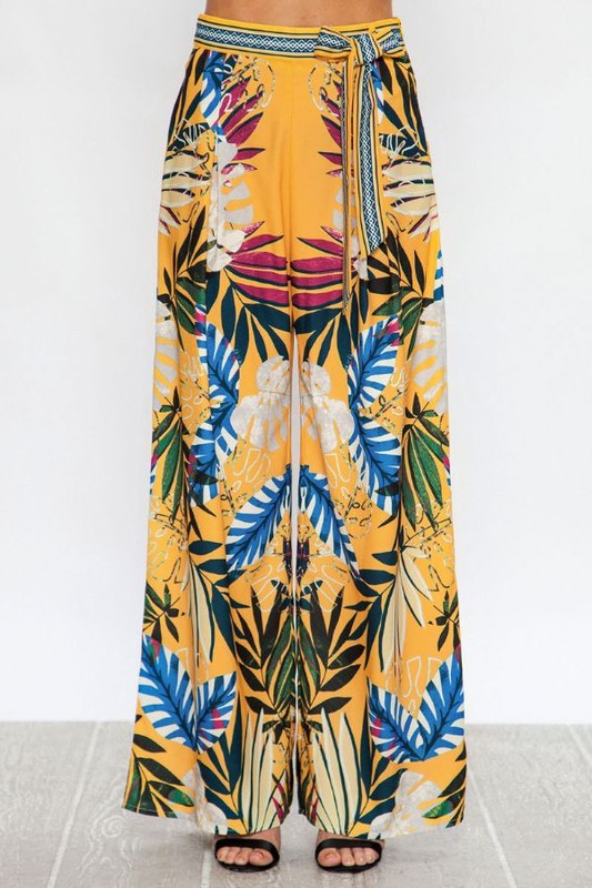 tropical floral palazzo pants with tie waist