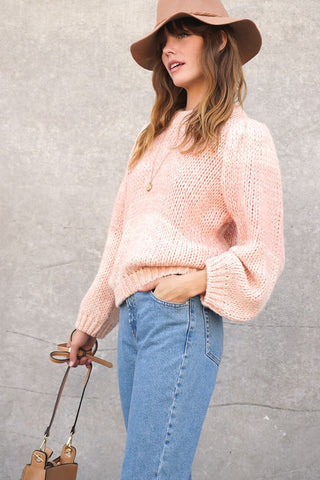 colorblock ballon sleeve sweater