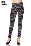 "3"" highwaist fur lined camo leggings"