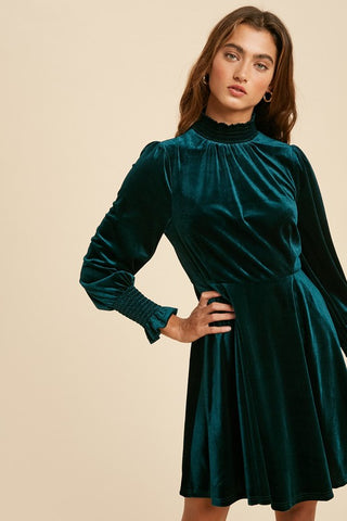 smocked neck velvet dress
