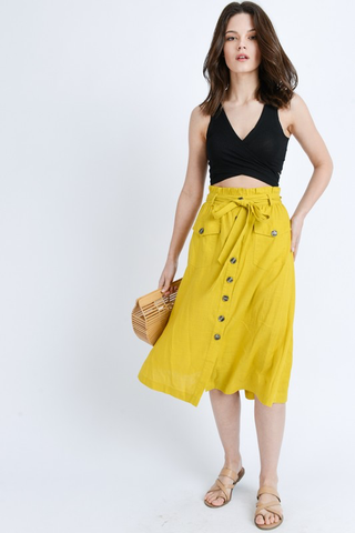 button midi skirt