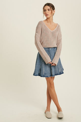 multi v neck sweater