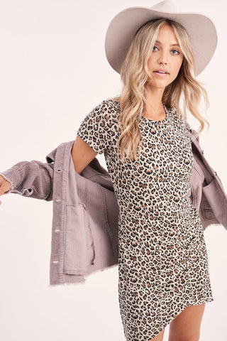 ruched leopard dress