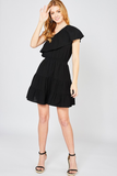 textured one shoulder mini dress