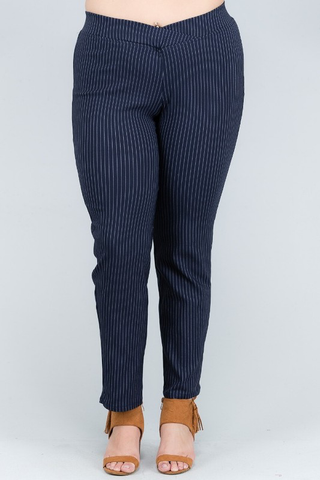 pinstriped stretch woven pants