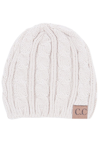 C.C cable-knit beanie
