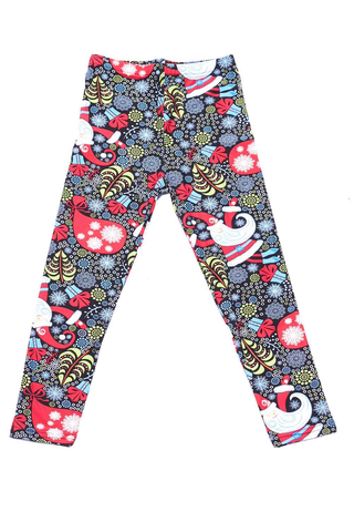 folk Santa print leggings