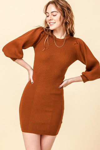 balloon sleeve bodycon dress