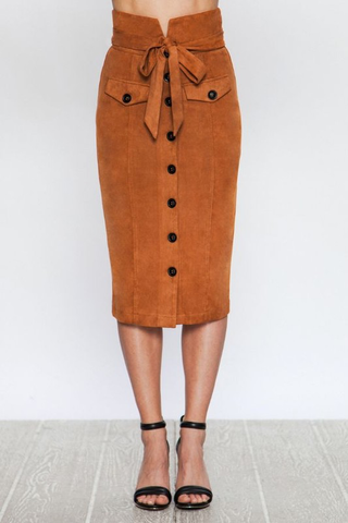 faux suede button down pencil skirt