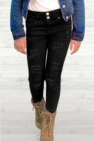 girls destructed skinny jeans