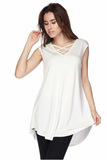 sleeveless scooped hem tunic