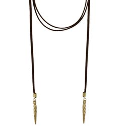 brown suede & gold spike lariat necklace