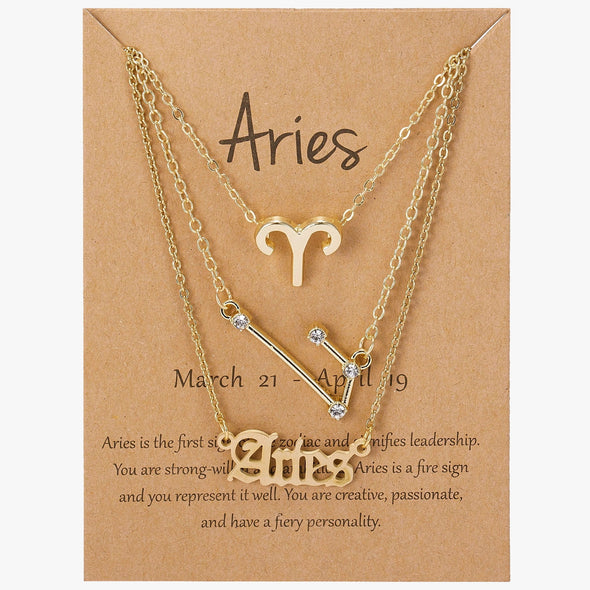 Zodiac Sign Necklace Set