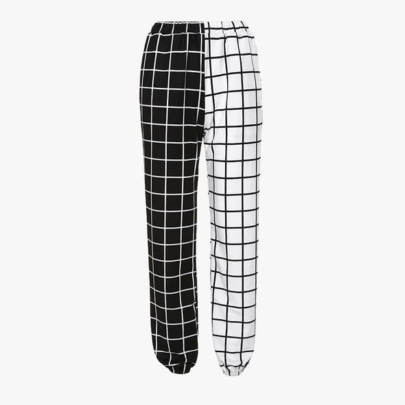 Black and White Elastic Pants