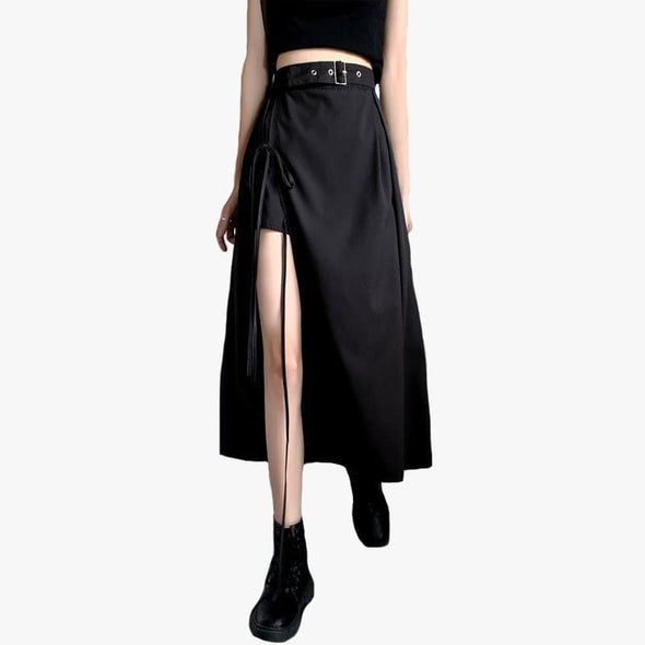 High Split Belt Skirt