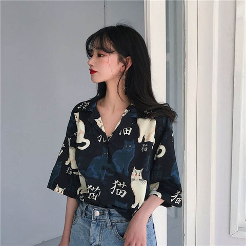 Vintage Cat Blouse