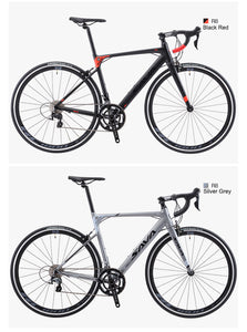 SAVADECK R8 Aluminium Road bike, 700C Carbon Fork Road Bicycle Light Aluminium Alloy Frame Road Bike with Shimano SORA R3000 18 Speed Derailleur System and Double V Brake