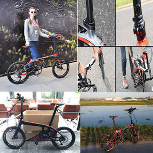 "SAVA Carbon Fiber Folding Bike 20"" inch Mini Compact City Bicycle SHIMANO 3000 9-Speed"
