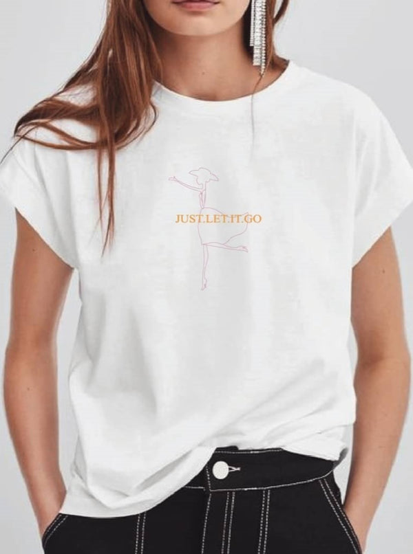White Let It Go Tee