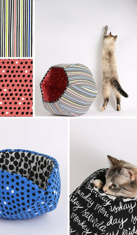 The Cat Ball made in striped and polka dots fabrics