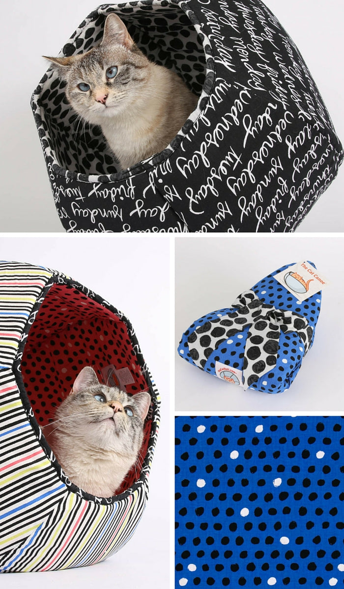 The Cat Ball cat bed made in Windham Fabrics 8 Days a Week collection