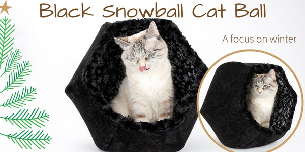 Black snowball Cat Ball bed for cats