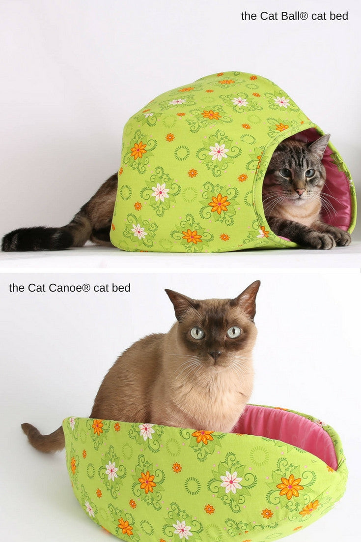 Coordinating cat beds made in bright green and pink cotton fabrics