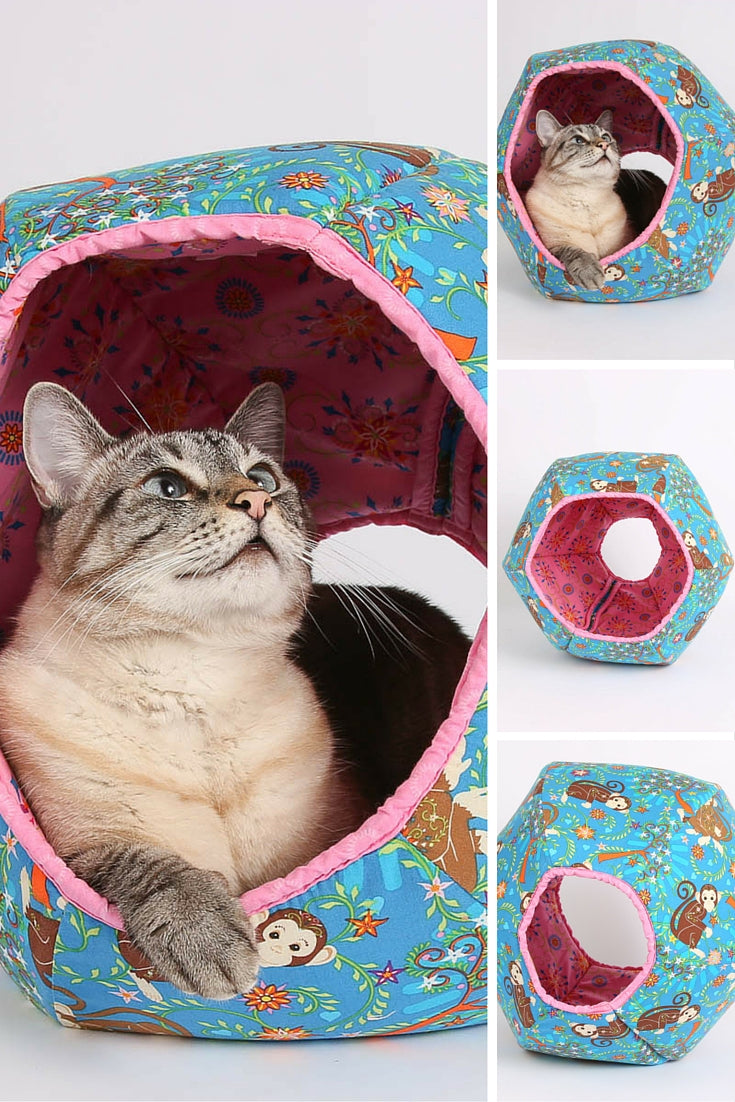 The CAT BALL cat bed made in monkey fabric, and 2016 is year of the Monkey