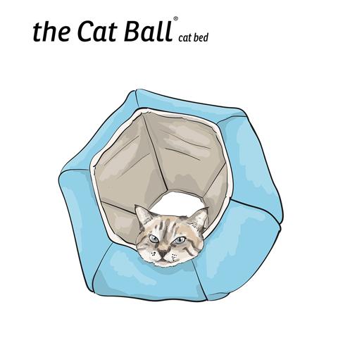 The Cat Ball cat bed is an enclosed, cave style pet bed with two openings