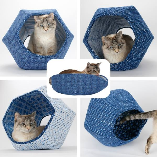 We used a series of blue fabrics with silver accents to create these Cat Ball cat beds