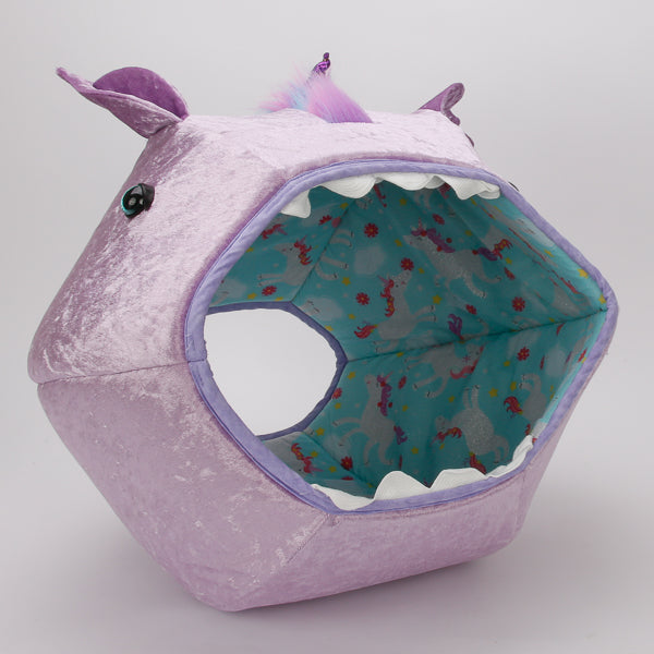 Novelty unicorn Cat Ball® cat bed, made in lavender panne velvet fabric