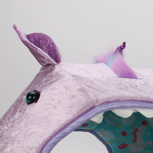 Detail of the novelty unicorn Cat Ball cat bed