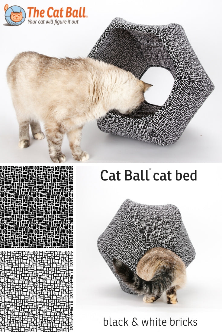 Cat Ball modern cat bed made in a black and white brick pattern