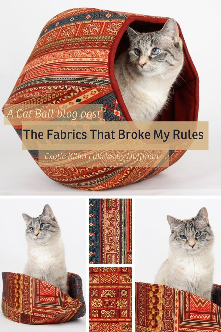 The Cat Ball cat bed made in exotic kilim fabrics by Hoffman