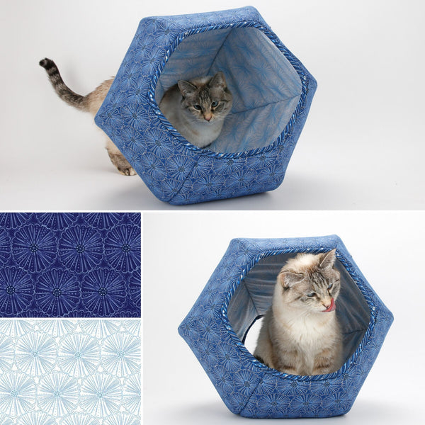 Cat Ball modern cat bed made in pretty blue flower fabrics with metallic accents