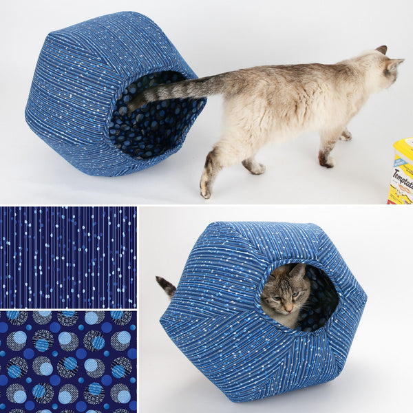 Cat Ball cat bed made in blue fabrics with silver metallic accents