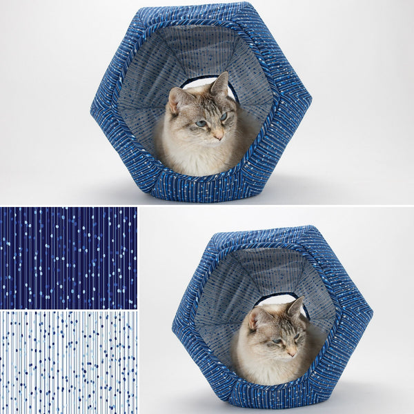 Cat Ball cat bed made in coordinating blue and white fabrics with metallic details