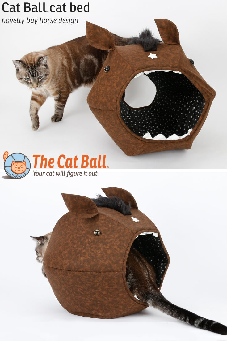 Cat Ball novelty horse design, a funny cat bed made in the USA by The Cat Ball, LLC