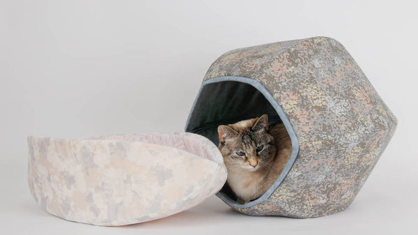 Cat Ball and Cat Canoe modern cat beds made in grey fabrics that look good together