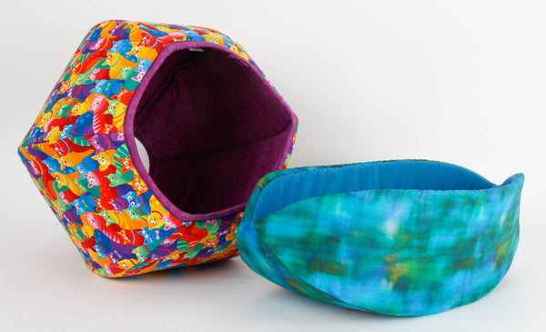 Cat Ball and Cat Canoe modern cat beds made in bright, cheerful fabrics