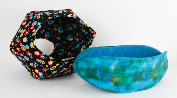 Cat Ball® cat bed and Cat Canoe® made in cheerful fabrics