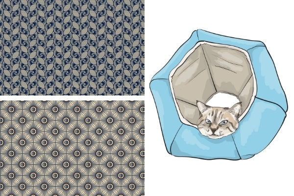 Fabric swatches for our upcoming navy blue tile fabrics Cat Ball® cat bed
