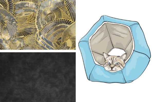 """Fabric swatches for the new """"Metallic Wings"""" Cat Ball® cat bed we are working on"""