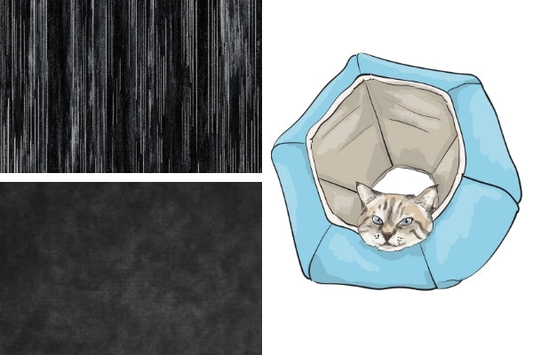 """Fabric swatches for our upcoming """"Silver Stripes"""" Cat Ball® cat bed"""