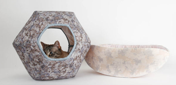 Cat Ball and Cat Canoe made in grey and white fabrics