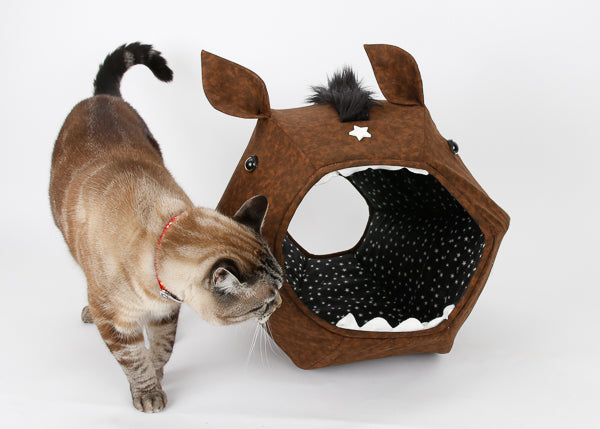 This novelty Cat Ball® cat bed looks like a horse