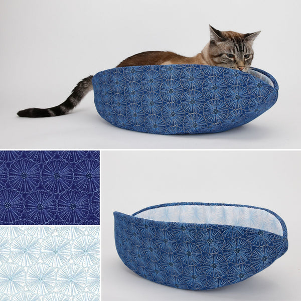 Cat Canoe modern cat bed made in blue, white, and metallic flower fabric