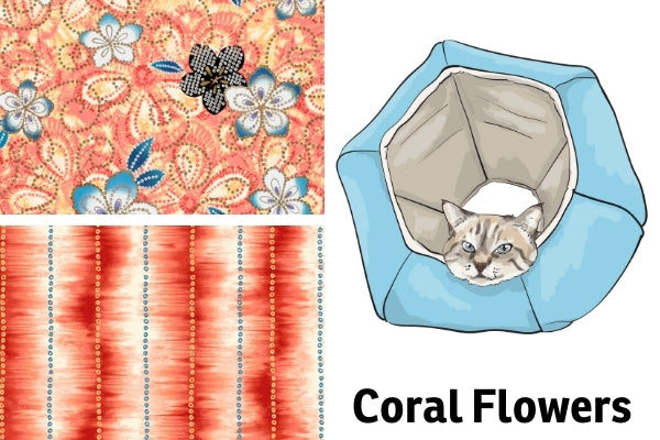 Pretty coral floral fabrics to be used for the Cat Ball® cat bed