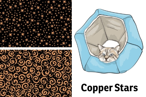 Swatches for the Cat Ball® cat bed to be made with copper inks on black cotton fabric